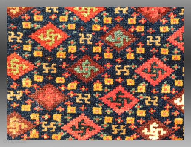 """Kurd Bag Face, W. Persia, 19th C., 2' x 2'  A distinctively """"Kurd"""" weaving, the palette and design type, making use of an elem, is a distinctive style practiced by at least one  ..."""