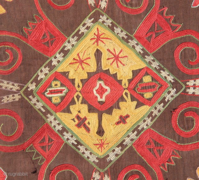 "Uzbek Lakai Embroidery, 19th C., 20.75"" x 18.5""  (silk stiching on dark brown/black cotton)