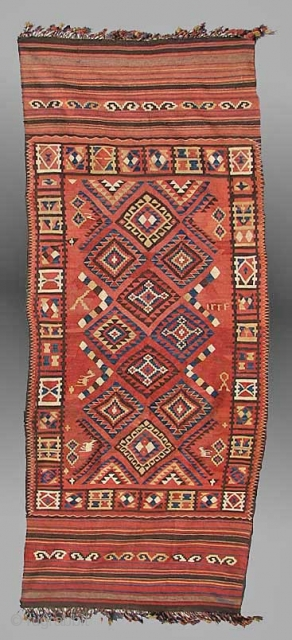 Kilim from east Afghanistan, approx 4&#039; x 10&#039;, early 20th century
