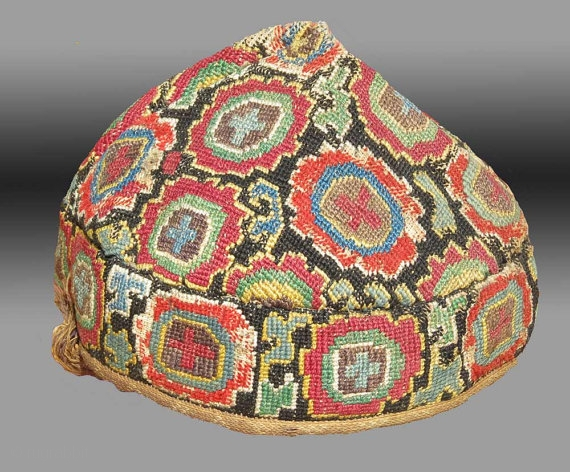 Uzbek Embroidered Hat, Central Asia, late 19th C.
