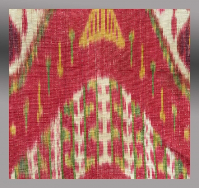 "Silk Ikat Panel, Central Asia, mid 19th C., 12"" x 24""