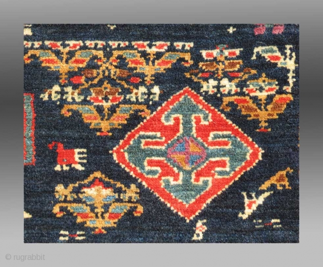 """Veramin Trapping/Torba(?), N. Persia, 19th C., 3'1"""" x 1'3""""  Over the years, we have all seen a number of Veramin weavings with a distinctly Turkmen feeling to the design, especially in these longer  ..."""