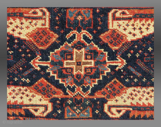 """Afshar """"Chanteh"""", S. Persia, 19th C., 18"""" x 10.5""""  Interesting drawing, with tertiary elements randomly scattered on the midnight blue field  Unusual border suggesting greater age than normally encountered.  Please inquire for further information"""