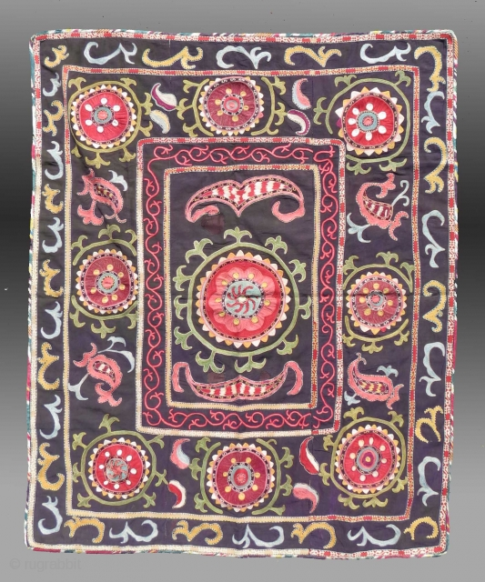 """Uzbek Embroidery (""""Suzani""""), Central Asia, 19th C., 3'5"""" x 4'6""""  Good condition, silk on cotton ground.  Please inquire for further information/details"""