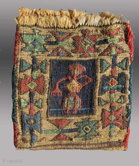 """Shahsevan """"Chanteh"""", Azerbaijan/NW Persia/Caucasus region, 19th C., 6"""" x 8""""  Just one of many things featured on the website that was updated Dec. 2, 2013  http://www.tcoletribalrugs.com/zrecentacq.html"""