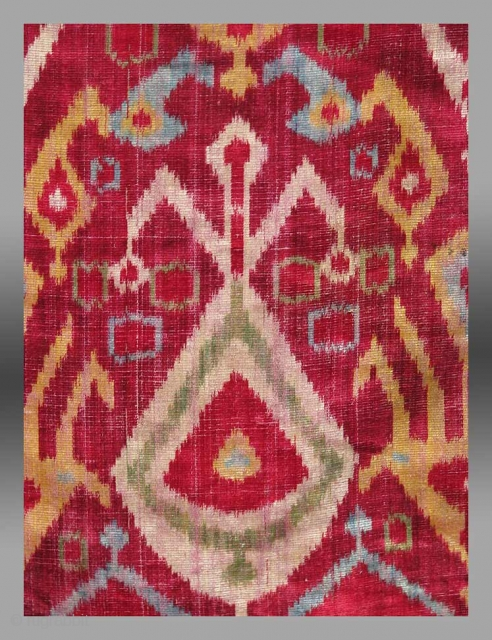 Velvet Ikat Fragment, Central Asia, 19th Century, 1 3 x 16