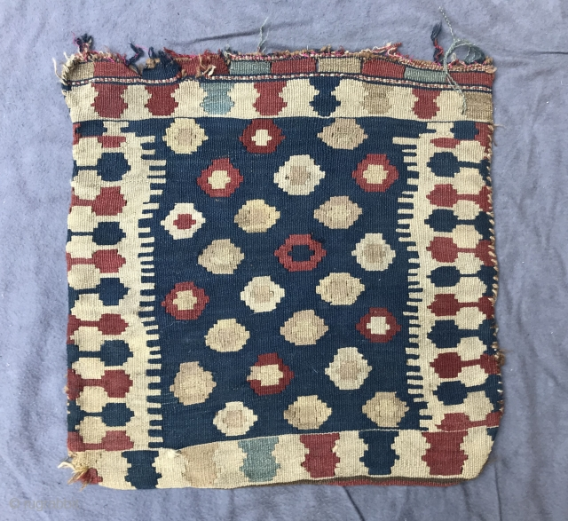 half shahsevan bag, late 19th century, with a faded fuchsin, 53 x 53 cm, 20,86 x 20,86 inches