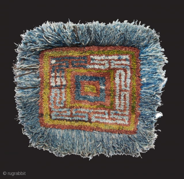 wangden drumze, monastic sitting rug, central tibet (tsang region), usually these rugs are knotted in the warp-faced-back technique, this one is made with the tibetan senneh loop. rare example. mint condition. second  ...