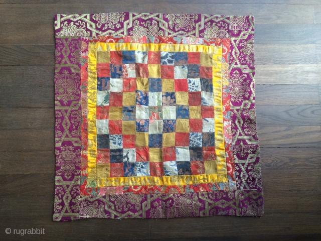 """tibetan silk altar cloth,  qing-dynasty, mint condition,  58 x 58 cm  2'3"""" x 2'3"""""""