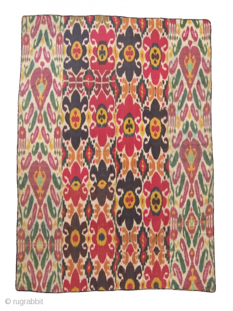 Lovely ikat (adras - silk and cotton blend) Pardah of four panels sewn together and lined with old Russian factory cotton. size 210x150cm.  Reasonable price.