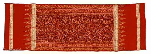 Late 19th c. Limar, Bangka Island, Sumatra.  Silk, metal thread, Ikat songket/brocade. 213x73cm. Ask for more info www.tinatabone.com