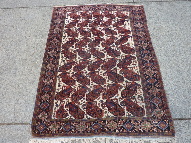 "Classic Afshar beauty 73"" x 54""  Recently hand cleaned by an expert.  Wear/creasing in center as shown in pictures.  $675 inc shipping within US."