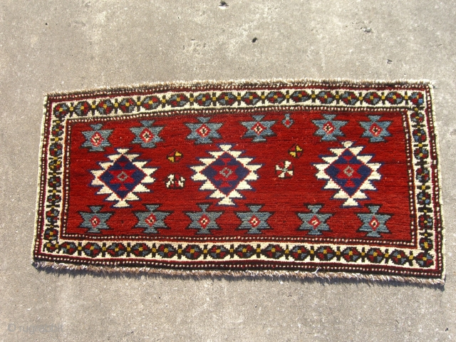A Shahsevan pile mafrash side panel.  Excellent, near-mint condition with long, shiny full pile and all natural dyes. White cotton-wrapped two-cord selvages in excellent condition. Wool brown-and-ivory warps and white cotton  ...