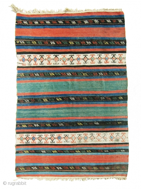 "Gorgeous antique Shahsavan killim in great colors, all colors are natural, great example of colorful Shahsan antique killim. size is 3'-11""x6'-11""."