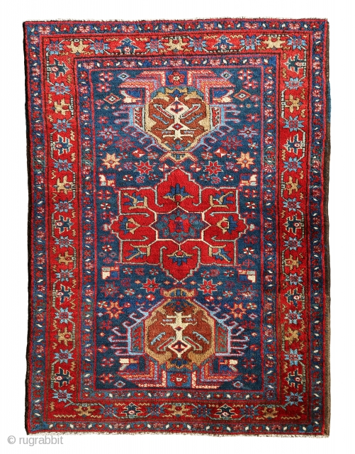 "Very gorgeous and old Gharadagh small rug in perfect condition and awesome color combination. Lovely piece from 1920. Size is 4'-7""x2'-10""