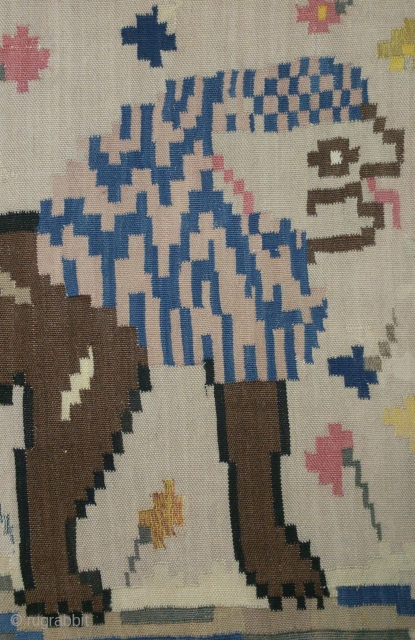 Antique Swedish kilim, no: 231, size: 145*66cm, Lion pictorial design, wall hangings.
