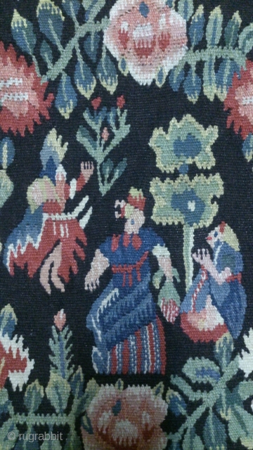 Antique Swedish pictorial Kilim, no: 315, size: 56*57cm, signed ( E M R), the tapestry very beautiful.