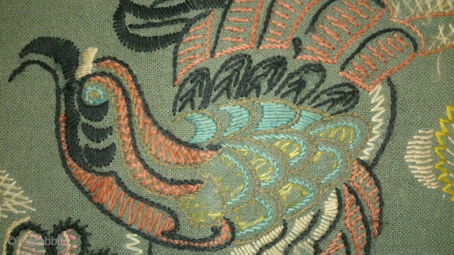 Antique pillow Swedish embroidery wool and metal on wool, no: 216, size: 80*59cm, pictorial design.