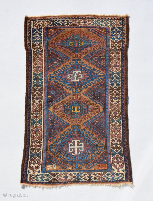 Colourful Antique Baluch rare design with animal motifs, very good condition, size is 132 x 80 cm