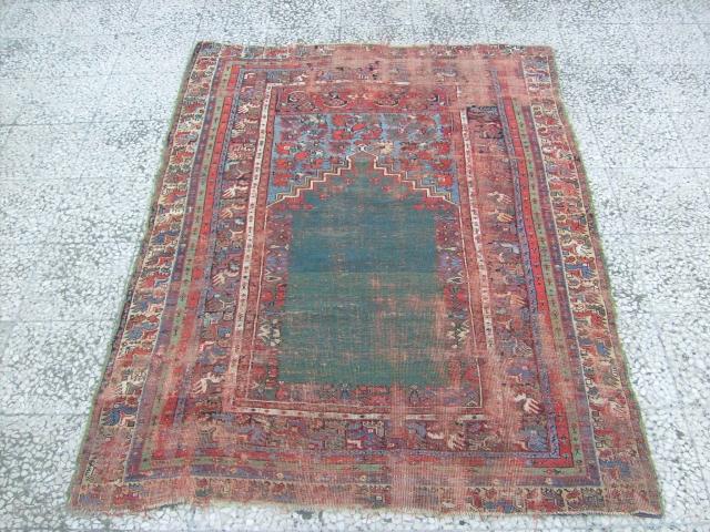 antique mudjur prayer rug, green mihrab very low pile 160x116