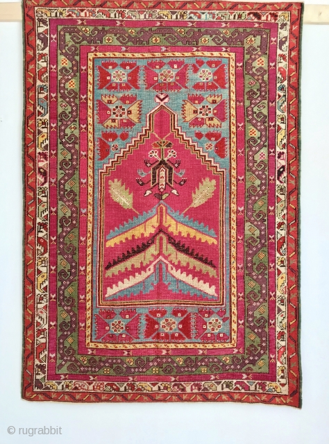 ANTIQUE ANATOLIAN KIRSEHIR PRAYER  RUG  CM 1.60 X 1,12  19TH CENTURY GOOD  CONDITION