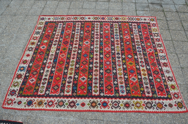 Semi antique large Sarkoy Pirot kilim. 9.5 m2 or so