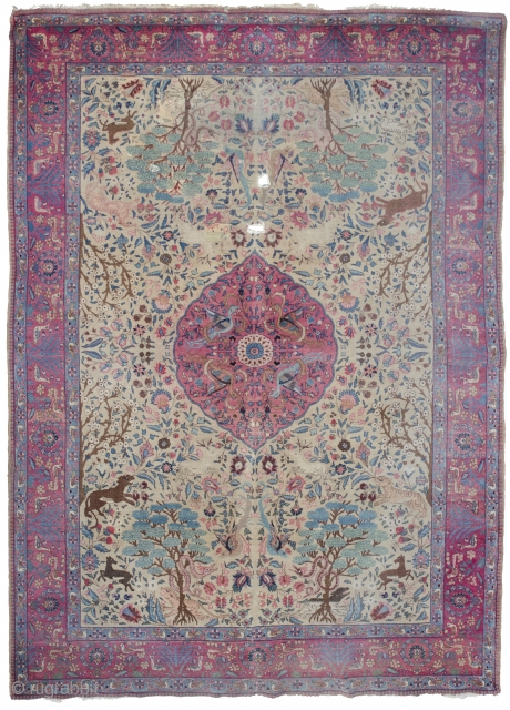 Large Antique Tabriz medallion rug, about 12 m2. Condition report: several holes (from furniture) no rust, several old repairs (not very well done) no stains, no dirt.  Enjoy