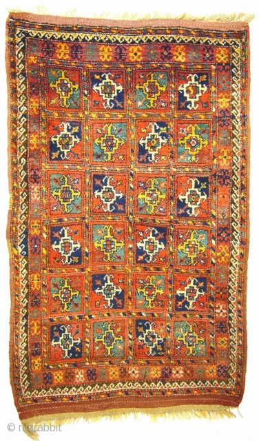 """# 789 Antique Kordi rug with """"turkmen guls"""", 125/203 cm, Khorasan, late 19th century, full pile, few restorations, original selvages, good natural colours.  For more offers of wonderful collector's pieces please visit our  ..."""