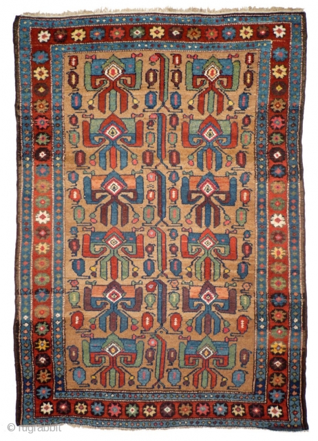 902 Rare Kurdish village rug with a never before seen design, 125/181 cm, Northwest Persia, 19th century, good condition, fantastic natural colours on a camel hair field, no comparable piece known! For more  ...