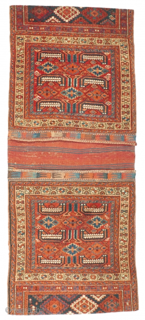"This was one highlight of our Jubilee Exhibition ""25 Years - 1992 - 2017"": # 1109 Kurdish Khorjin, 63/149 cm, Varamin area, late 19th century, two reunited halfs, rare design, best natural  ..."