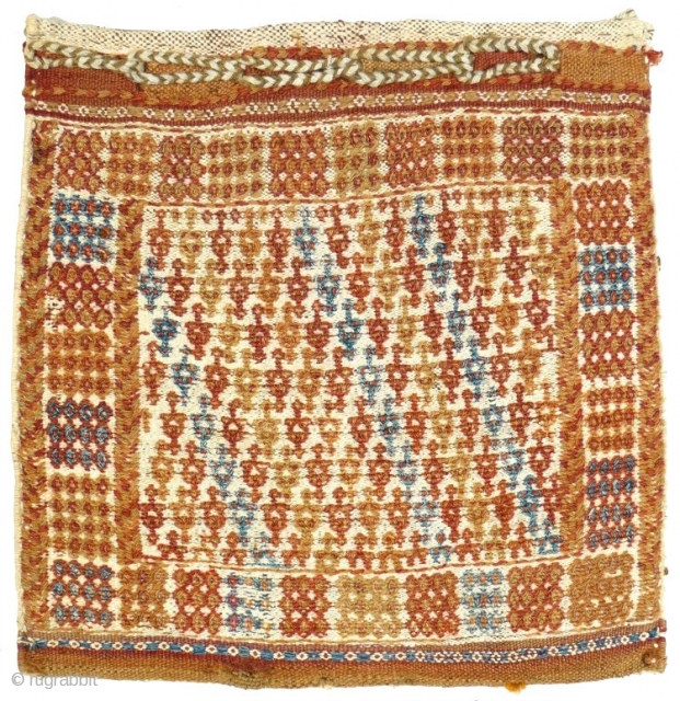 # 830 Bakhtiari flatwoven chanteh, 40/40 cm, West Persia, early 20th century, complete and in good condition, rare collector's piece.