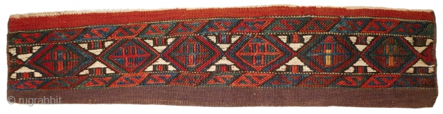 Another highlight of our current exhibition: # 1137 Extremely rare Kordi tent bag in landscape format, 75/17 cm, Khorasan, late 19th century, Sumak front side, intense natural dyes, in good condition! For  ...