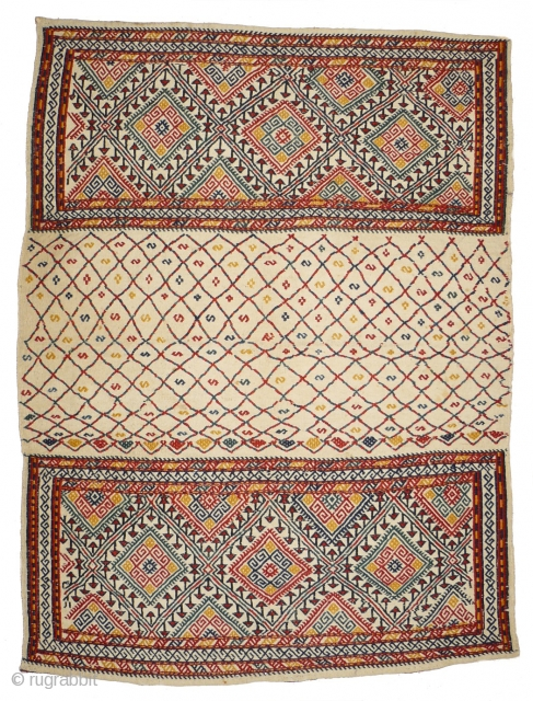# 861 Rare white grounded mafrash, 93/126 cm, Karadagh area, Northwest Persia, ca. 1900, the best natural colours you can imagine, perfect condition, top collector's piece! 