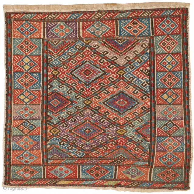 This is another highlight of our Spring Exhibition 2018: # 1139 Karadaghi Kurds mafrash side, 48/47 cm, Northwest Persia, 19th century, amazing natural dyes, cf. Azadi / Andrews, Mafrash, 1985, p. 223,  ...