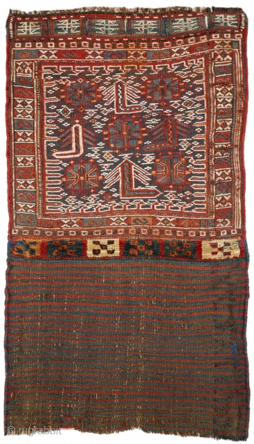 This is another highlight of our Spring Exhibition 2018: #1140 Luri-Bakhtiari khorjin half, 49/85 cm (opened), Southwest Persia, late 19th century, beautiful drawing, good natural dyes, in fair condition! For a complete  ...