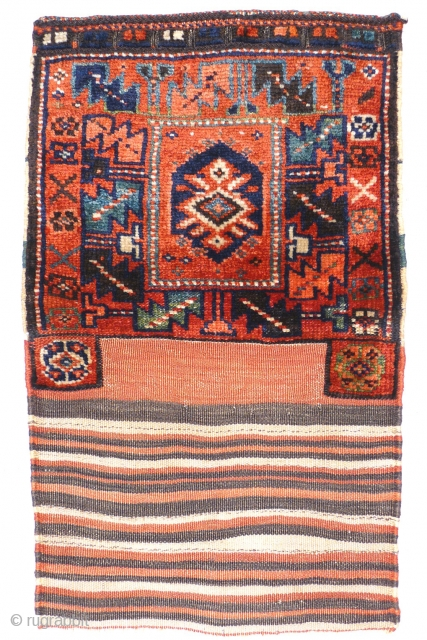 # 877 Kurdish khorjin half (unsewn), 49/82 cm, Varamin area, late 19th century, very rare design, beautiful natural colours, good condition, top collector's piece!