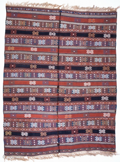 # 184 Spectacular Azeri flatweave, 180/228 cm, woven in two halfs and sewn together, Azerbeijian, ca. 1900, for such an old piece in a very good condition, nice natural colours, white cotton,  ...