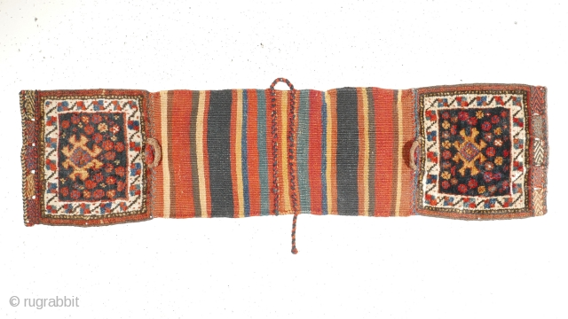 # 1086 Rare Luri (Khamseh?) chanteh khorjin, 27/105 cm (opened), Southwest Persia, late 19th century, complete with closure loops, best natural dyes, in excellent condition, only some very small restorations, a charming  ...