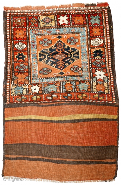 # 1098 Rare Kurdish khorjin half, 77/62 cm (opened), Northwest Persia, 2nd half 19th century, best natural dyes (light blue!), some small repairs, look at the different eight pointed stars in the  ...
