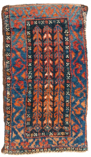 # 1132 Afschar Spindle, Spoon or Scissors Bag, 25/44 cm, South Persia, ca. 1900, rare upright format, three trees of life in the field, full pile, beautiful natural dyes (light and dark  ...