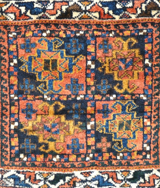 # 827 Khamseh khorjin front, 74/64 cm, Southwest Persia, early 20th century, very good pile with one small restoration, natural colours, electric Blue. For more offers of wonderful collector's pieces please visit our  ...