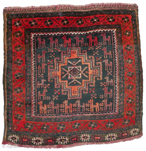 # 1128 Afshar Khorjin Front, 62/63 cm, Khorasan, 1st quarter 20th century, a flock of quadrupels in the field, soft silky wool, full pile! For a complete overview of our Autumn Exhibition  ...