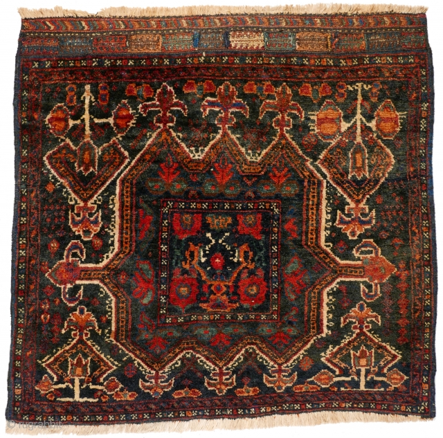 # 1107 Rare Kurdish Khorjin Front, 77/74 cm, from a village in the Bijar area, ca. 1900, traditional motifs, heavy Bijar structure, min. rep. and moth bites, now in good condition! For  ...