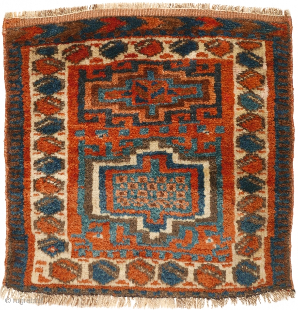# 1114 Kurdish Khorjin Front, 49/49 cm, Northwest Persia, early 20th century, full soft pile, good natural dyes! For a complete overview of our Autumn Exhibition 2017 please look at our website:  ...