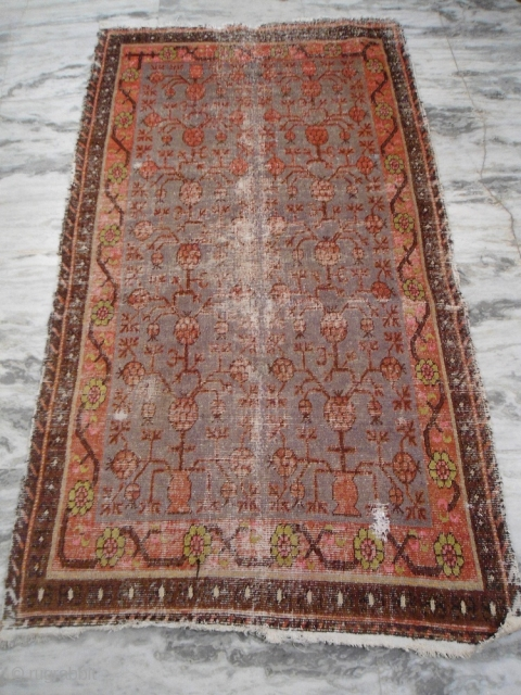 circa 1900s khotan rug size : 7'x 4' Approx. worn areas.  worldwide shipping : $ 65