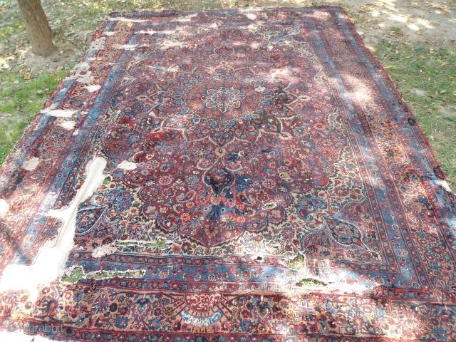 19th Century Birjand meshad carpet Size: 9'x12' Approx. worn , Holes,