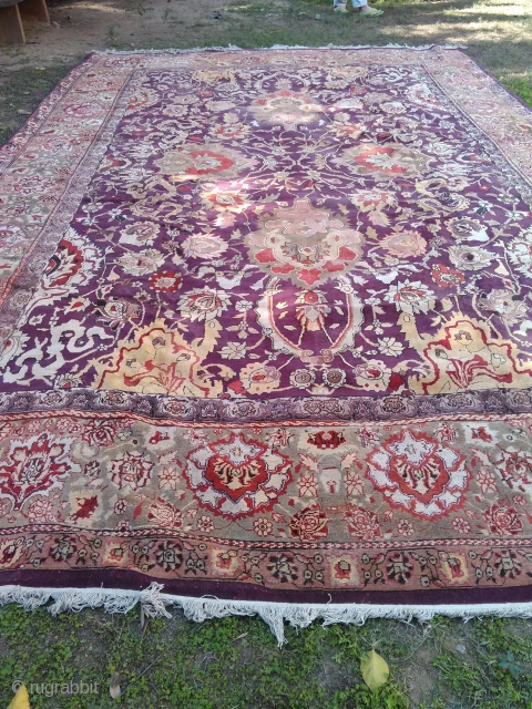 Antique Agra carpet , India 12x18 ft some re-piled areas no hole, no worn areas