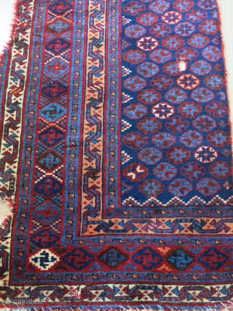 """Luri tribal half piece fragment of a tent entry door rug. still has good pile at most places. Circa late 19th - size : 90""""X 35"""" -- 230 cm X 89 cm"""