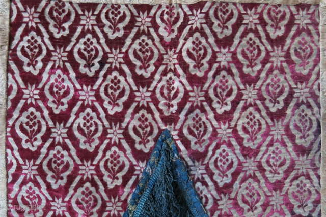 Azerbaijan - Baku Niche curtain, velvet chatma center and brocade sides with silk tassel. Plain indigo dyed cotton backing. Left side brocade has no stain- darkness is from the light not hitting  ...