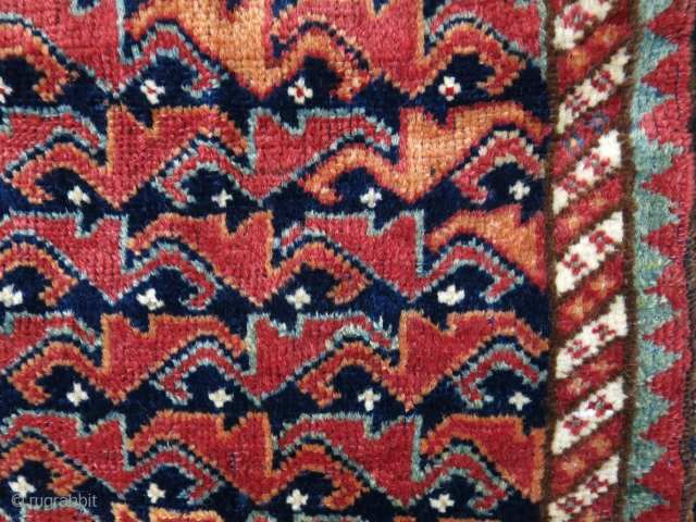 """Kashkai pile bag with good pile - natural colors camel hair mixes back side plain weave. Circa 19th cent. size: 17.5"""" X 17"""" -- 44 cm X 43 cm"""